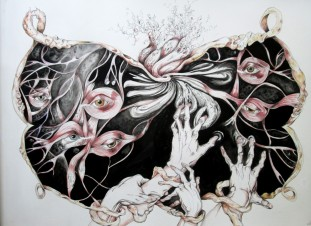 L'Ecran - Pen, watercolor and ink on paper, 22'x30' SOLD