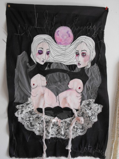 À ma soeur - Drawing on paper sewn on fabric with lace - SOLD