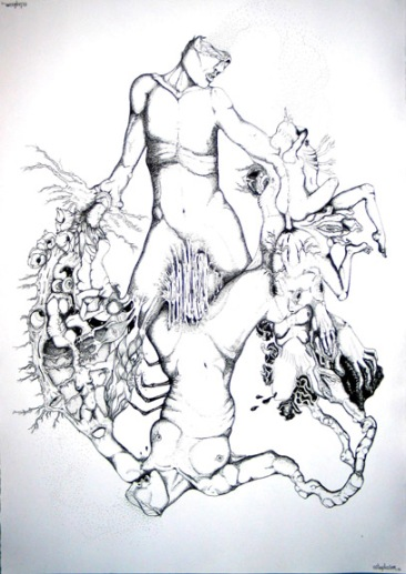Entrelacs, Pen on paper, 22'x30', SOLD