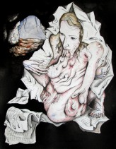 L'Ermite, pen, ink and watercolor on paper, 16'x12' Sold