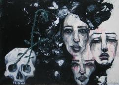 Sorcières, acrylic on canvas, 16'x12' SOLD