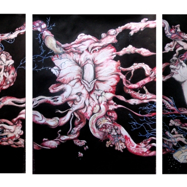 Triptyque, pen, ink anmd watercolor on paper, 20'x48'