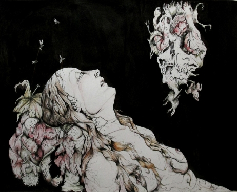 Visions/Marie-Madeleine, pen, ink and watercolor on paper, 16'x12' SOLD