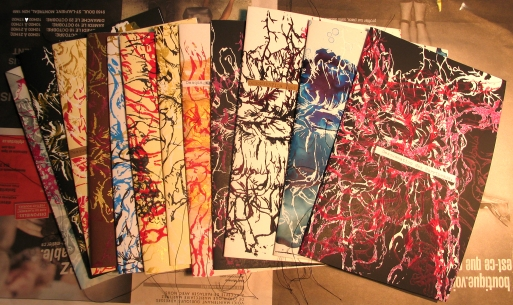 One of a kind silkscreened covers.