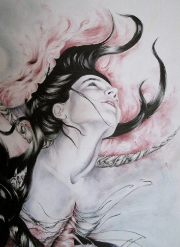 ''Anima Mundi''Detail - Mixed Media on paper - 38'x50' - Sold (comissioned piece)