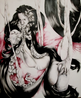 Desincarnation - Ink, pen and pencils on paper - 22'x30' SOLD