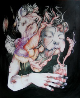 Ghost in a glass - Pen, ink and pencils on paper - 14'x17'