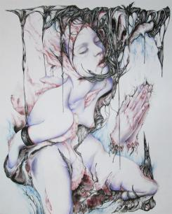 Justine -mixed media on paper - 14'x17'
