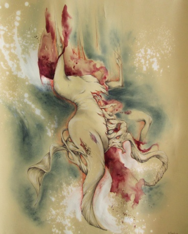 Surrealist nude Study - Mixed Media on sand-colored paper - App. 16'x20 inches