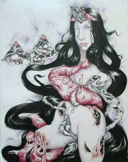 Die Puppe - Pen, ink and pencils on paper, 22'x30'.