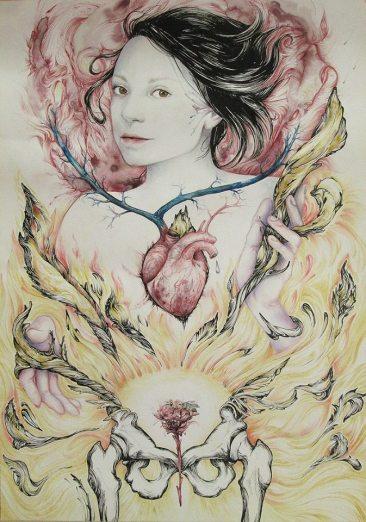 Sacré Coeur pour Madeleine - crayon, encre et stylo sur papier